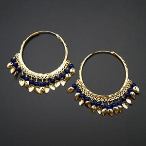 Sagun  - Blue  (Hoop) Bali Earrings -Gold