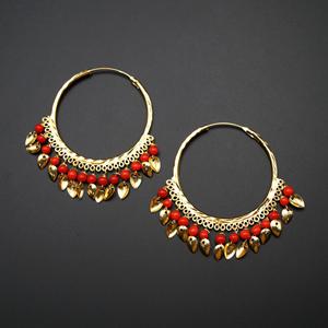 Sagun  -Red (Hoop) Bali Earrings -Gold