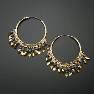 Sagun  -Grey (Hoop) Bali Earrings -Gold
