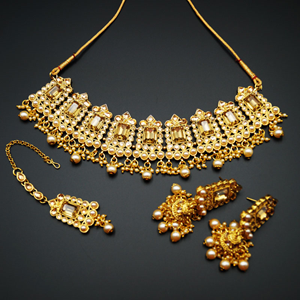 Tagi - Gold Stone Pearl Necklace Set - Gold