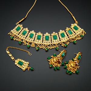 Tagi -Green Kundan/Gold Stone Pearl Necklace Set - Gold