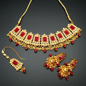 Tagi -Ruby Kundan/Gold Stone Pearl Necklace Set - Gold