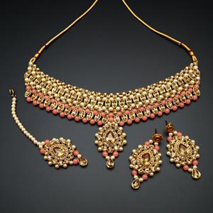 Kari - Gold Diamante and Peach Beads Choker Necklace Set - Gold