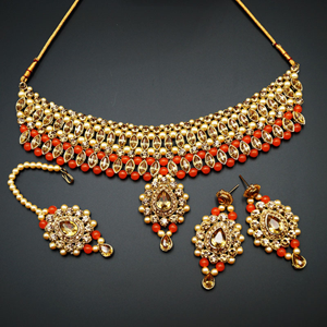 Kari - Gold Diamante and Orange Beads Choker Necklace Set - Gold