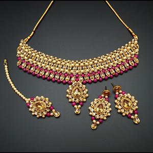 Kari - Gold Diamante and Pink Beads Choker Necklace Set - Gold