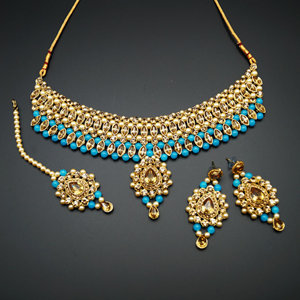 Kari - Gold Diamante and Turquoise Beads Choker Necklace Set - Gold