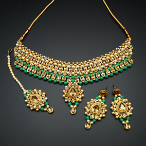 Kari - Gold Diamante and Mint Beads Choker Necklace Set - Gold