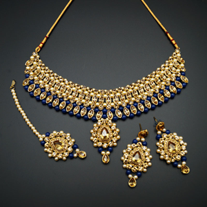 Kari - Gold Diamante and Blue Beads Choker Necklace Set - Gold
