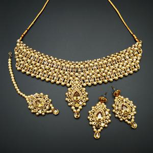 Kari - Gold Diamante Choker Necklace Set - Gold