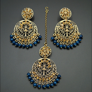 Sakari -Gold Diamante/ Blue Beads Earring Tikka Set - Gold