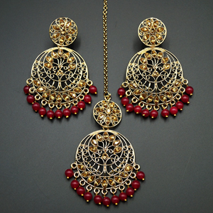 Sakari -Gold Diamante/ Red Beads Earring Tikka Set - Gold