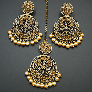 Sakari -Gold Diamante & Pearls Earring Tikka Set - Gold