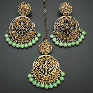 Sakari -Gold Diamante/ Mint Beads Earring Tikka Set - Gold