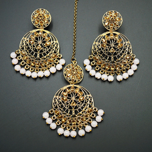 Sakari -Gold Diamante/ Nude Beads Earring Tikka Set - Gold