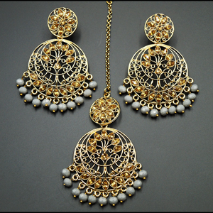 Sakari -Gold Diamante/ Grey Beads Earring Tikka Set - Gold