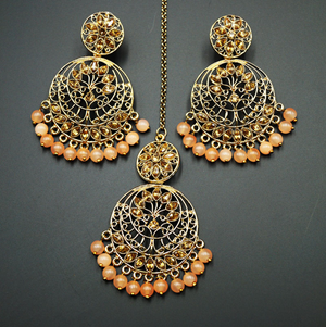 Sakari -Gold Diamante/ Peach Beads Earring Tikka Set - Gold
