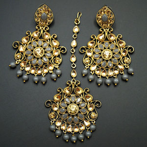 Isha- Grey Beads/Gold Kundan Earring Tikka Set - Gold