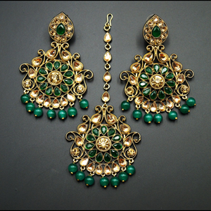 Isha- Green/Gold Kundan Earring Tikka Set - Gold