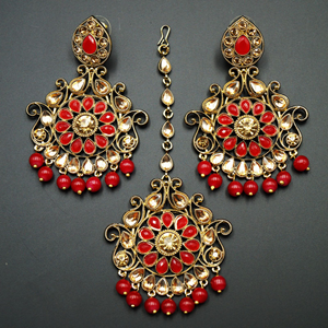 Isha- Red /Gold Kundan Earring Tikka Set - Gold