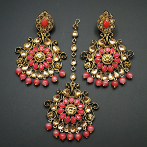 Isha- Coral/Gold Kundan Earring Tikka Set - Gold