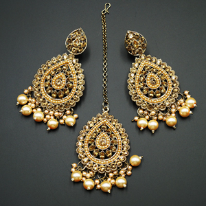 Logu-Gold Diamante / Champagne Pearls Earring Tikka Set - Gold