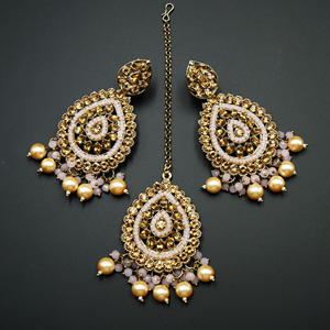 Logu-Gold Diamante / Light Pink  Beads Earring Tikka Set - Gold