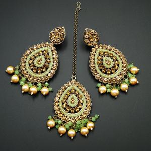 Logu-Gold Diamante / Mint Beads Earring Tikka Set - Gold
