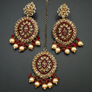 Raida-Gold Diamante / Maroon Beads Earring Tikka Set - Gold