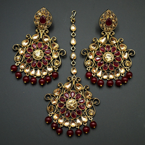 Isha- Maroon/Gold Kundan Earring Tikka Set - Gold