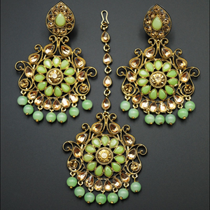 Isha- Mint/Gold Kundan Earring Tikka Set - Gold