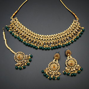 Gamya - Gold Diamante and Green Beads Necklace Set - AntiqueGold