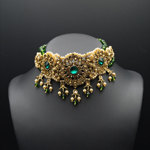 Arobi - Green/Gold Kundan Choker Necklace Set - Gold