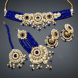 Arobi - Blue/White Kundan Choker Necklace Set - Gold