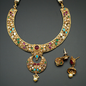 Ciya Multicolour Necklace Set - Gold