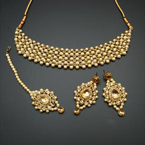 Jara Gold Diamante Choker Necklace Set - Gold
