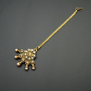 Inay -Gold /White Diamante Tikka - Gold