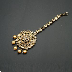 Jasu Gold Polki Stone Tikka - Antique Gold