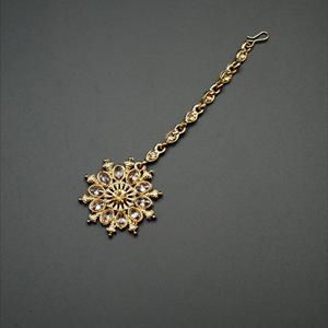 Faras Gold Polki Stone Tikka - Antique Gold