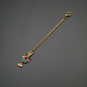 Poya Multicolour Polki Stone Tikka- Gold