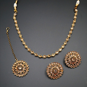 Jaan Gold Polki Stone Necklace Set - Antique Gold