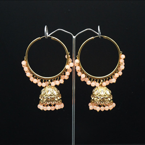 Sakti - Light Peach (Hoop) Bali Earrings -AntiqueGold