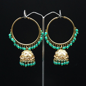 Sakti - Green (Hoop) Bali Earrings -AntiqueGold