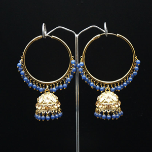 Sakti - Blue (Hoop) Bali Earrings -AntiqueGold
