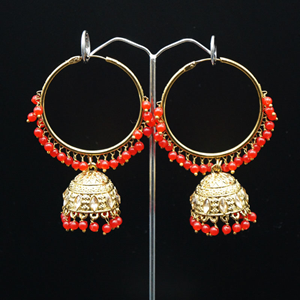 Aruna- Red (Hoop) Bali Earrings -AntiqueGold