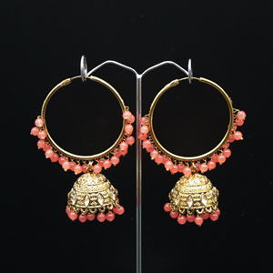 Aruna- Coral (Hoop) Bali Earrings -AntiqueGold
