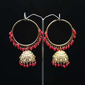 Aruna- Pink (Hoop) Bali Earrings -AntiqueGold