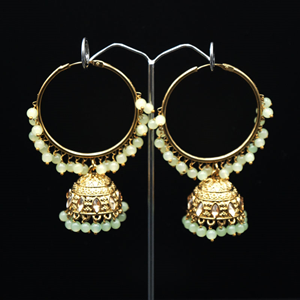 Aruna- Mint (Hoop) Bali Earrings -AntiqueGold