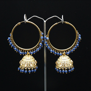 Aruna- Blue (Hoop) Bali Earrings -AntiqueGold