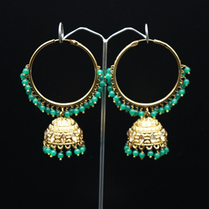 Aruna- Green (Hoop) Bali Earrings -AntiqueGold