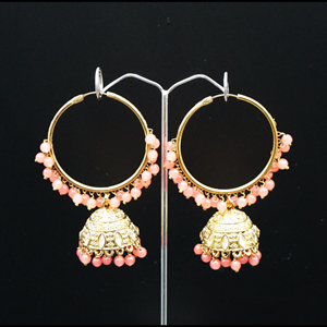 Aruna- Peach (Hoop) Bali Earrings -AntiqueGold